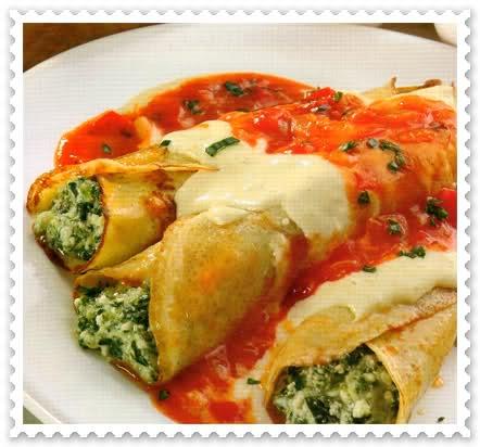 Canelones de ricota y verdura con salsa de tomate y queso - Fotos de canalones ...